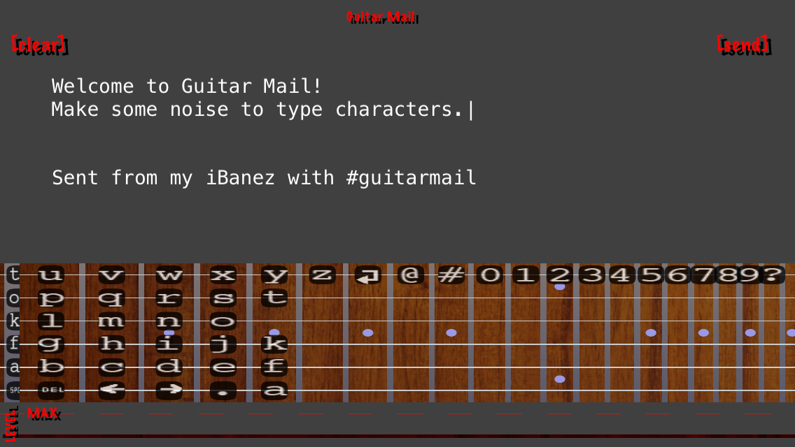 Screenshot of GuitarMail on the iPhone 5